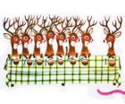 Group of Christmas reindeers waiting for food