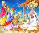 The Three Kings delivering their gifts, gold, frankincense and myrrh, to the infant Jesus