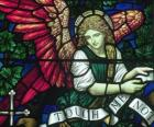 Stained glass with an angel