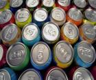 Cans of drink like beer or soft drink with gas