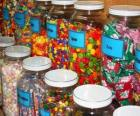 Glass containers with different kinds of candy