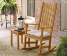 Wooden rocking chair or rocker with back bars