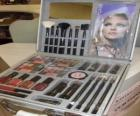Makeup case with brushes and blushers