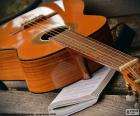 Acoustic guitar with six strings