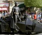 Batman in his Batmobile