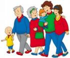 Caillou walking with his family