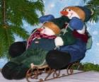 Snowmen sled down