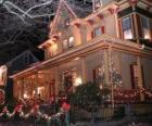 House decorated for Christmas