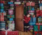 Girls entering a room full of gifts