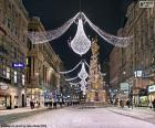 Street decorated for Christmas