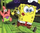 SpongeBob SquarePants and his friend, Patrick Star running