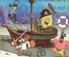 SpongeBob and some of his friends playing at being pirates