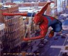 Spider Man moves in a very fast and agile way by the city balancing himself with his spider's web
