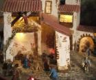 Main Nativity scene with the Holy Family in a barn