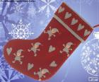 Christmas sock decorated with elves and hearts