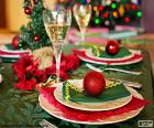Table decorated for the celebration of Christmas