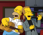 Homer Simpson singing with a friend