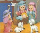 Jesus in the manger with Joseph, Mary and a shepherd with his sheeps