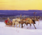 Christmas sleigh pulled by reindeer and loaded with gifts and Santa Claus
