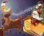 Christmas sleigh pulled by magical reindeers and loaded with gifts, Santa Claus and an elf