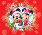 Mickey and Minnie Mouse wraped up warm with Santa Claus hats