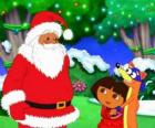 Dora and the villain of fox with Santa Claus