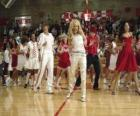Gabriella Montez (Vanessa Hudgens) Troy Bolton (Zac Efron), Ryan Evans (Lucas Grabeel), Sharpay Evans (Ashley Tisdale) dancing and singing