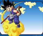 Goku riding his Kinton cloud that can fly at high speed