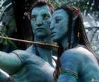 Jake's na'vi avatar and Neytiri ready to launch an arrow