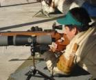 Rifle shooter in action
