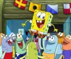 SpongeBob hailed by the inhabitants of Bikini Bottom