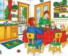 Caillou and his family eating in the kitchen