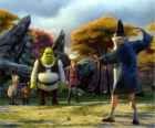 Shrek, the ogre with his friends Donkey, Puss in Boots and Arthur, Merlin watching