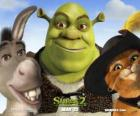 Shrek, the ogre with his friends Donkey and Puss in Boots