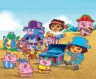 Dora with her friends playing at being pirates