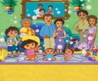 Dora with her family and friends