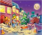 Bob and his friends at night trabajano repairing a city street