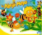 Maya the Bee and her friend Willi under the gaze of Flip and other characters