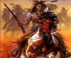 Indian warrior riding across