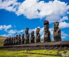 The Moai statues of Easter Island or Rapa Nui, stone statues of Chile on an island located in the middle of the Pacific Ocean