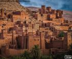 Ksar of Ait Ben Hadu, group of buildings surrounded by high mud walls, Ouarzazate, Morocco.