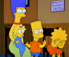 Marge with their children Bart, Lisa and Maggie in the doctor's office