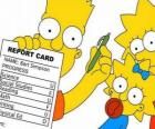 Bart Simpson with notes from school before the watchful eyes of their sisters