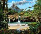 Beautiful landscape with dinosaurs