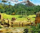 Several dinosaurs with a volcano erupting in the background