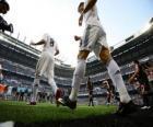 Cristiano Ronaldo and Kaka leaving the pitch