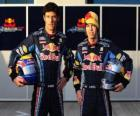 Sebastian Vettel and Mark Webber, pilots of the Red Bull Racing Scuderia