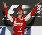 Fernando Alonso celebrates his victory at the Bahrain Grand Prix (2010)