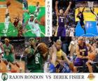 NBA Finals 2009-10, Point Guard, Rajon Rondon (Celtics) vs Derek Fisher (Lakers)