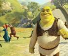Shrek walking through the town and people runs